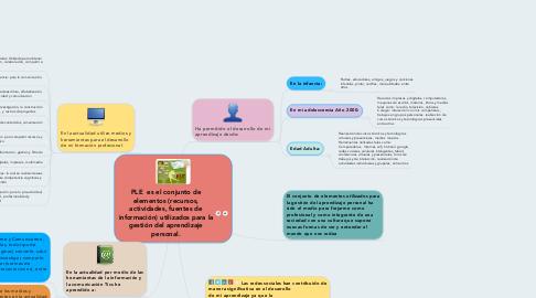 Mind Map: PLE  es el conjunto de elementos (recursos, actividades, fuentes de información) utilizados para la gestión del aprendizaje personal.