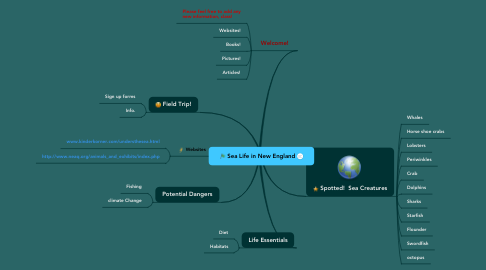 Mind Map: Sea Life in New England