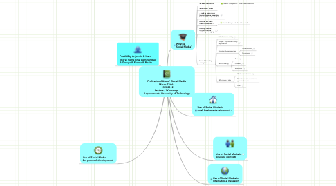 Mind Map: Professional Use of  Social Media Minna Takala    15.5.2012  Lecture / Workshop   Lappeenranta University of Technology