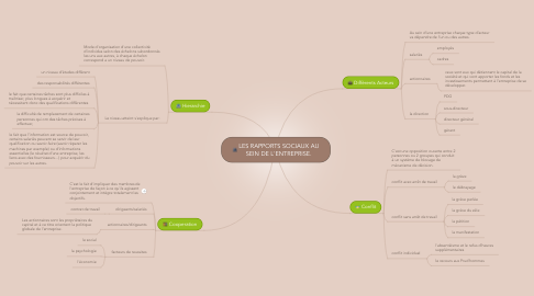 Mind Map: LES RAPPORTS SOCIAUX AU SEIN DE L'ENTREPRISE.