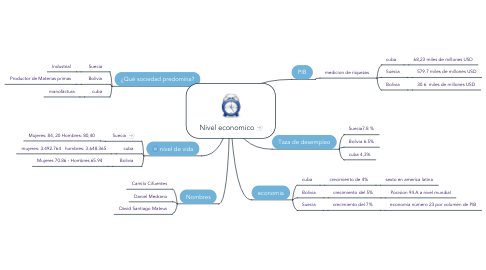 Mind Map: Nivel economico