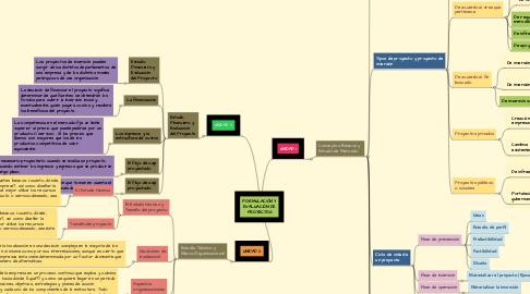 Mind Map: FORMULACIÓN Y EVALUACIÓN DE PROYECTOS