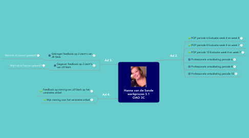 Mind Map: Hanna van de Sande  werkproces 3.1  OAO 3C