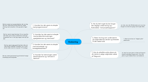 Mind Map: Evaluering