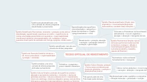 Mind Map: TECIDO EPITELIAL DE REVESTIMENTO