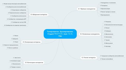 Mind Map: Тонирование, бронирование. Студия PROFTON, муж 18-45, Уфа