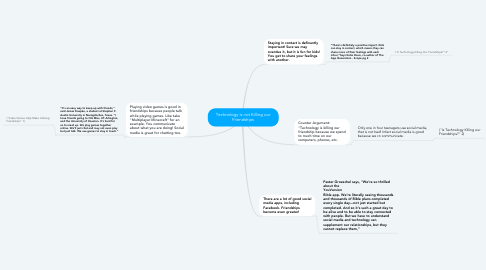 Mind Map: Technology is not Killing our Friendships