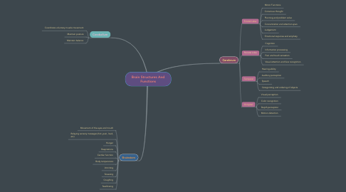 Mind Map: Brain Structures And Functions