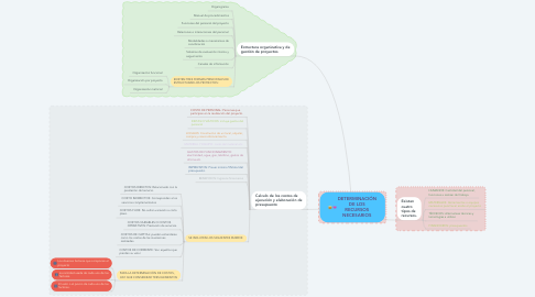Mind Map: DETERMINACIÓN DE LOS RECURSOS NECESARIOS