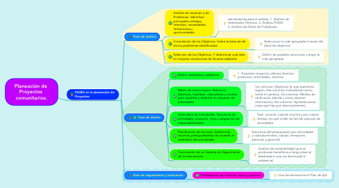 Mind Map: Planeación de  Proyectos  comunitarios.