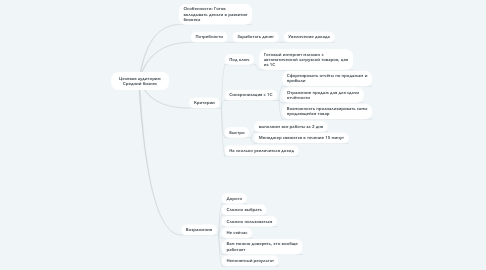 Mind Map: Целевая аудитория: Средний бизнес