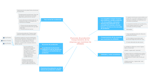 Mind Map: El proceso de producción: Comportamiento de las empresas que maximizan las utilidades
