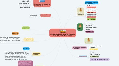 Mind Map: La empresa la Esperanza S.A tiene problema en los Altos costos de producción.