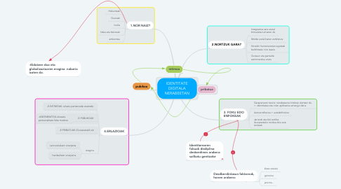 Mind Map: IDENTITATE DIGITALA NERABEETAN