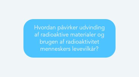 Mind Map: Hvordan påvirker udvinding af radioaktive materialer og brugen af radioaktivitet menneskers levevilkår?