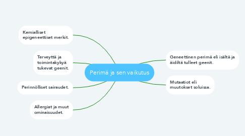 Mind Map: Perimä ja sen vaikutus