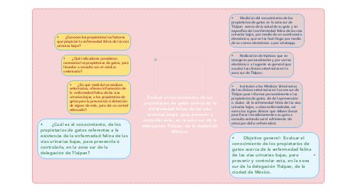 Mind Map: Evaluar el conocimiento de los propietarios de gatos acerca de la enfermedad felina de las vías urinarias bajas, para prevenir y controlar esta, en la zona sur de la delegación Tlalpan, de la ciudad de México.