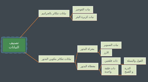 Mind Map: تصنيف النباتات